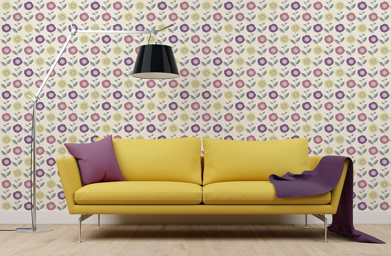 Coloroll Helsinki Geometric Wallpaper In Pink/Yellow | Helsinki ...