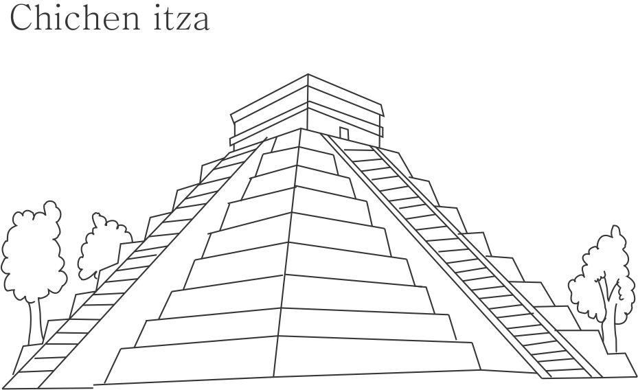 Chichen Itza printable coloring page for kids
