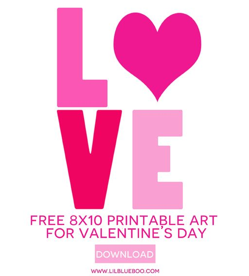 Free 8x10 Valentineu0027s Day Printable Art