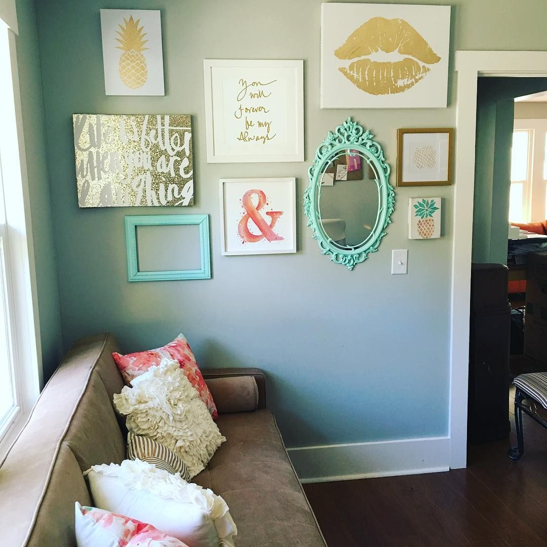 Home Office Designs Living Room Decorating Ideas: Instagram Gallery Wall In Peach Teal And Gold Glitter