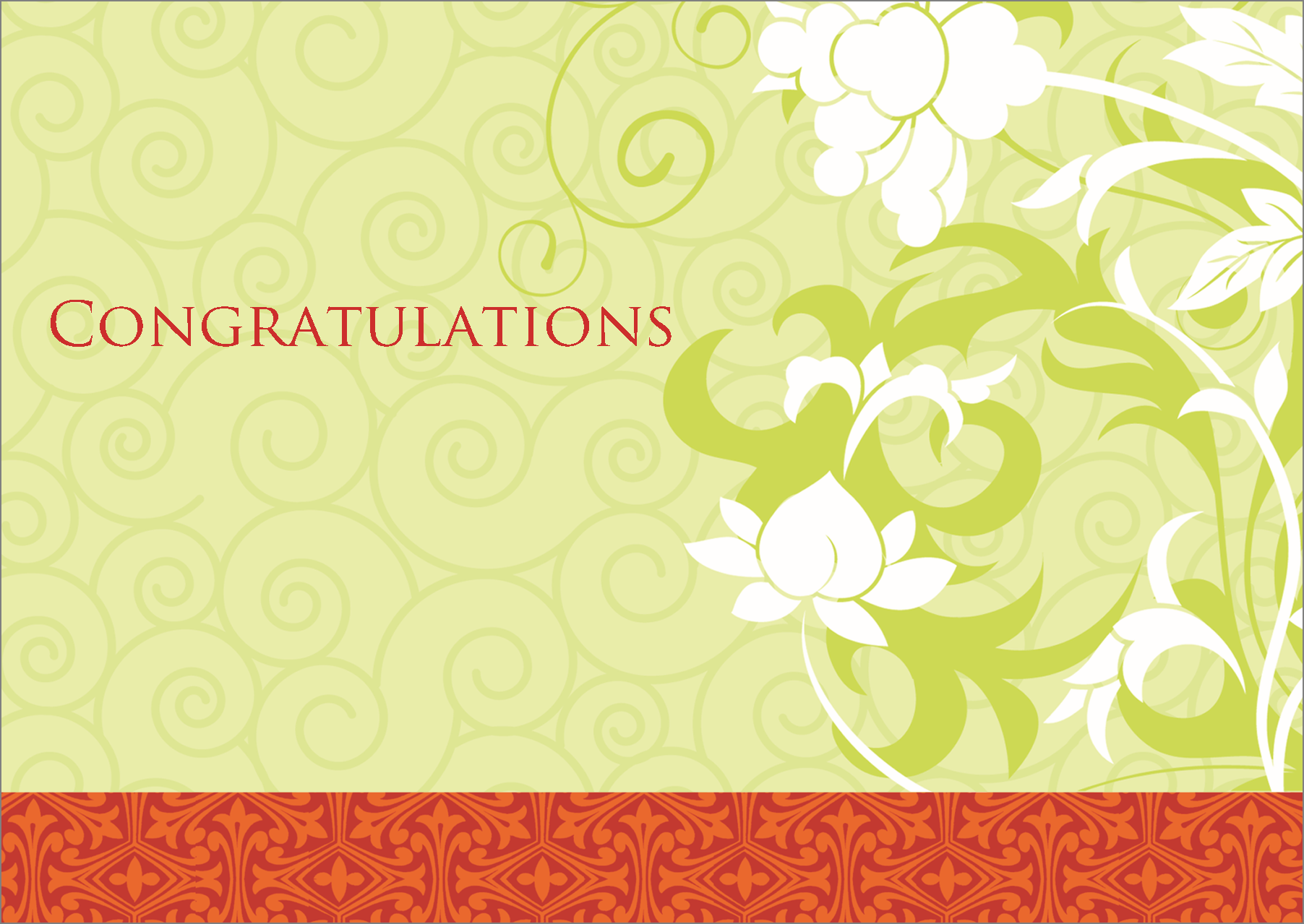 Flat Standard Greeting Card Green Tea Congratulations Cards