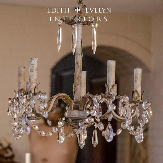 Vintage french tole chandelier white with gilt by edithandevelyn vintage french tole chandelier white with gilt by edithandevelyn mozeypictures Image collections