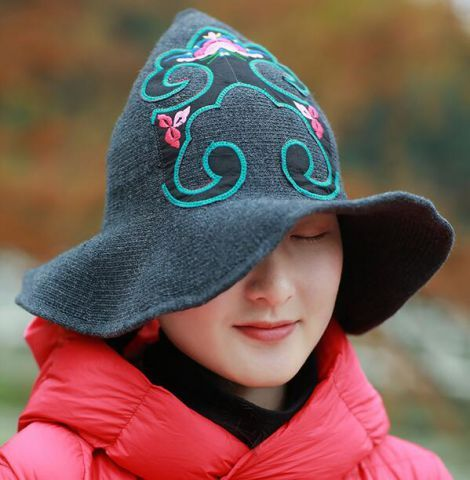 014d8408447 Chinoiserie flower embroidered hat for women gray knit witch hats floppy  brim