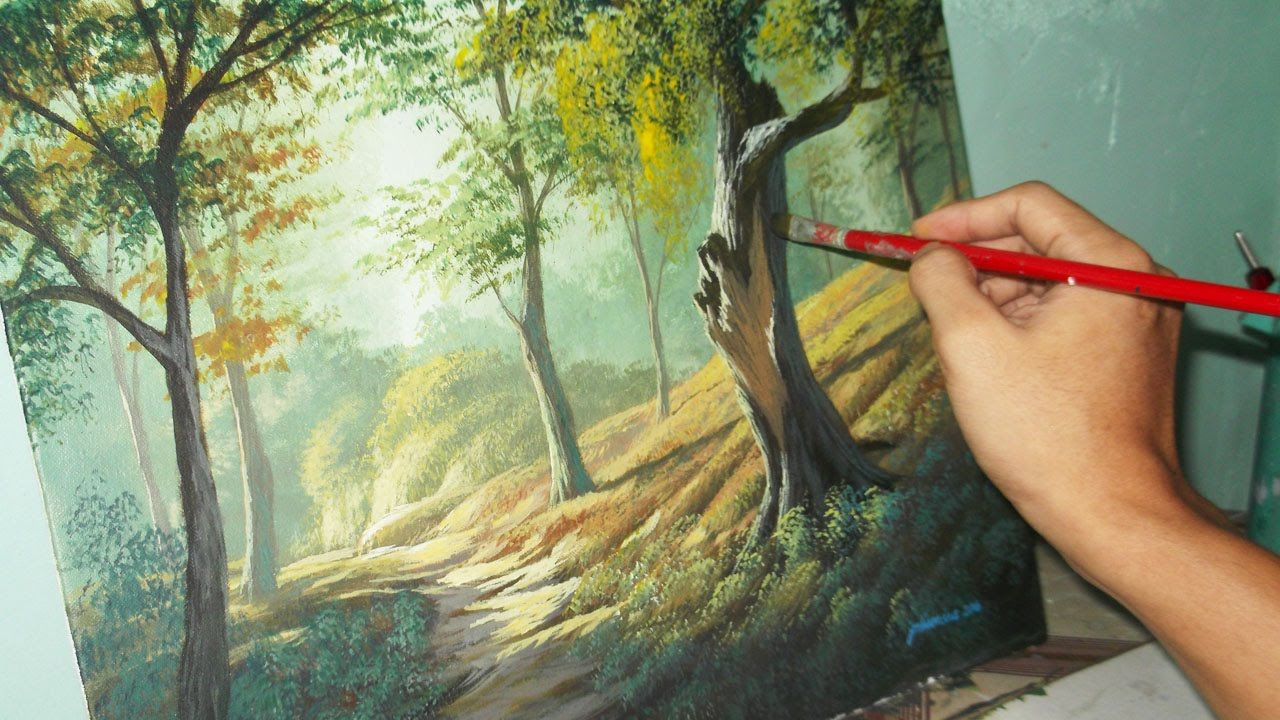 acrylic landscape painting lesson forest trees by