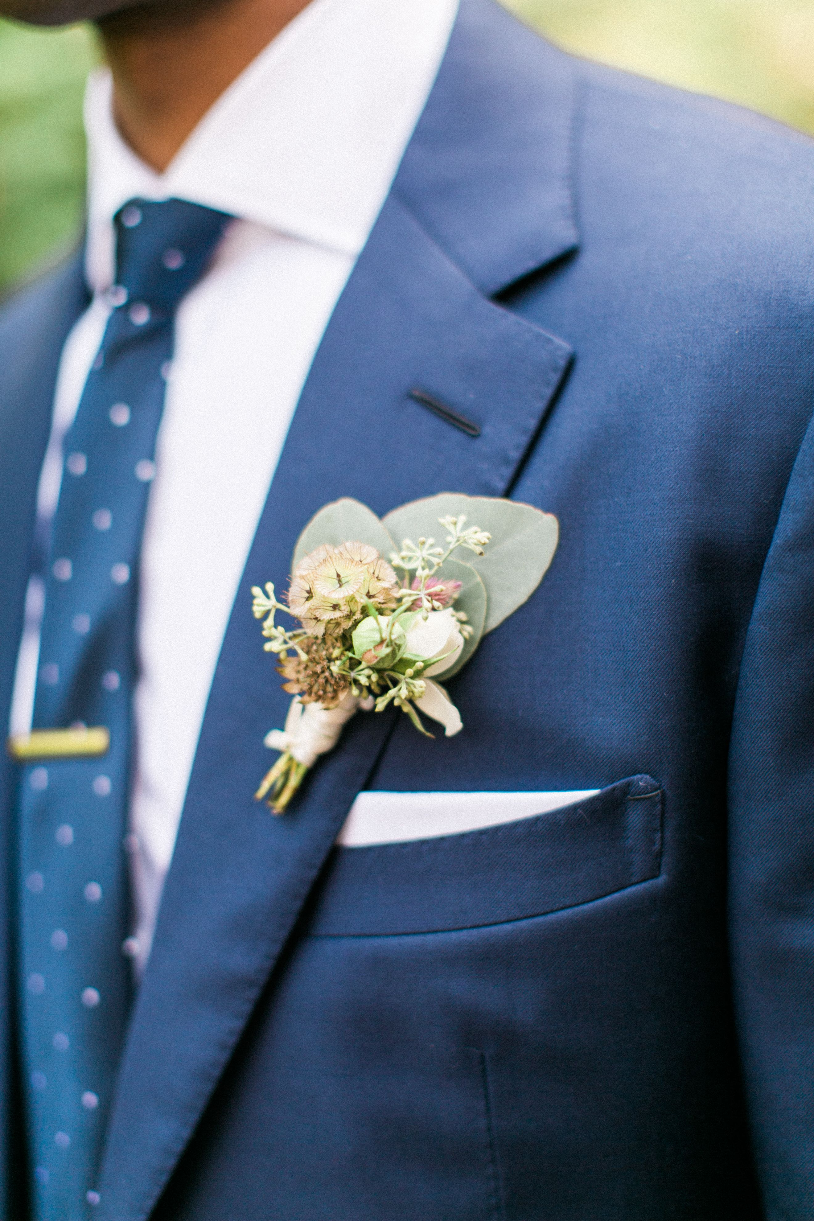 Scabiosa and Spray Rose Groom's Boutonniere