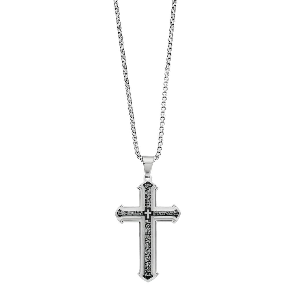 1913 Stainless Steel Two Tone Men S The Lord S Prayer Pendant Necklace White Mens Pendant Necklace Pendant