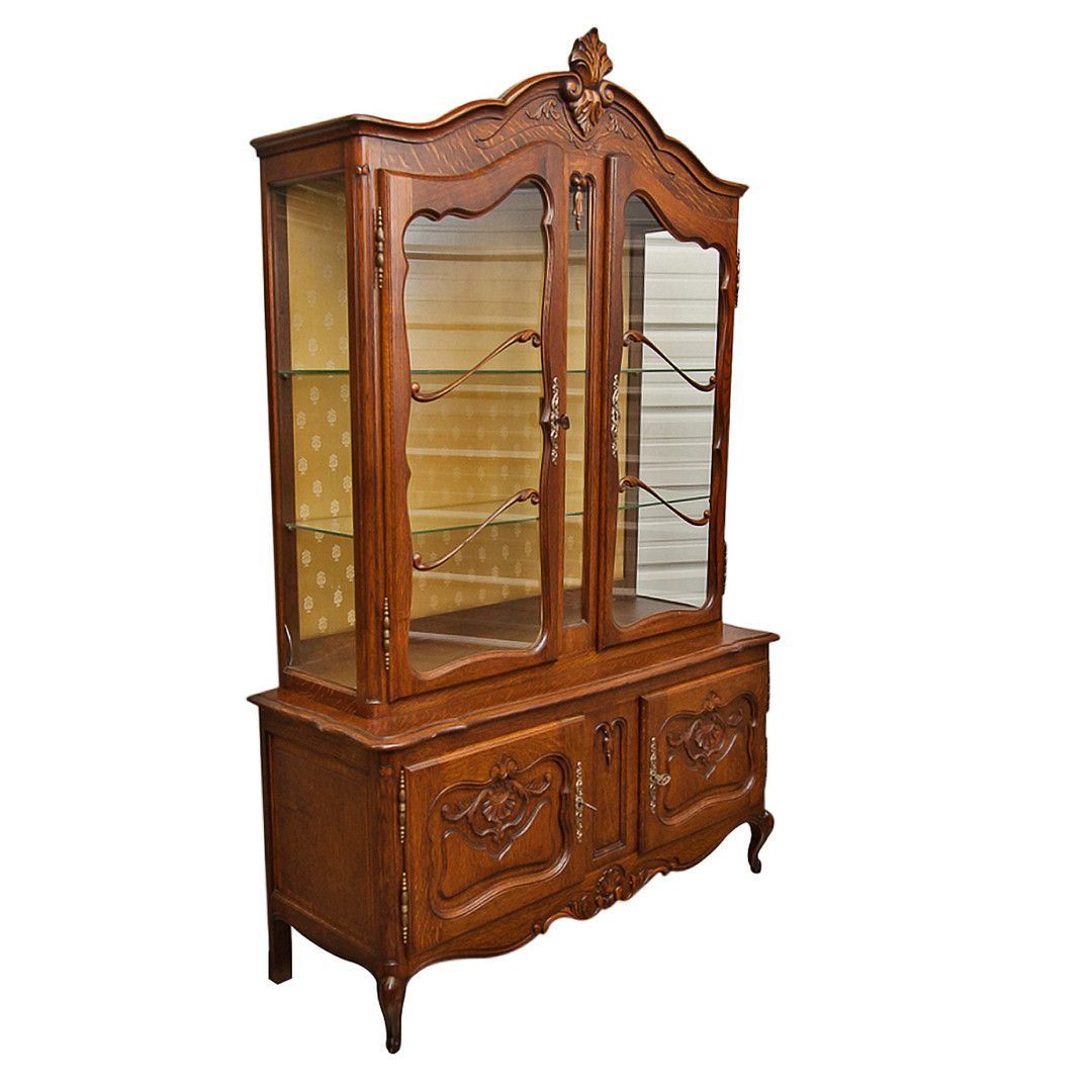 Vintage Louis XV Style Petit Buffet With China Cabinet
