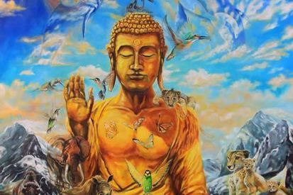 2014 buddha surrounded by spirits of animals 53x60 canvas  sold