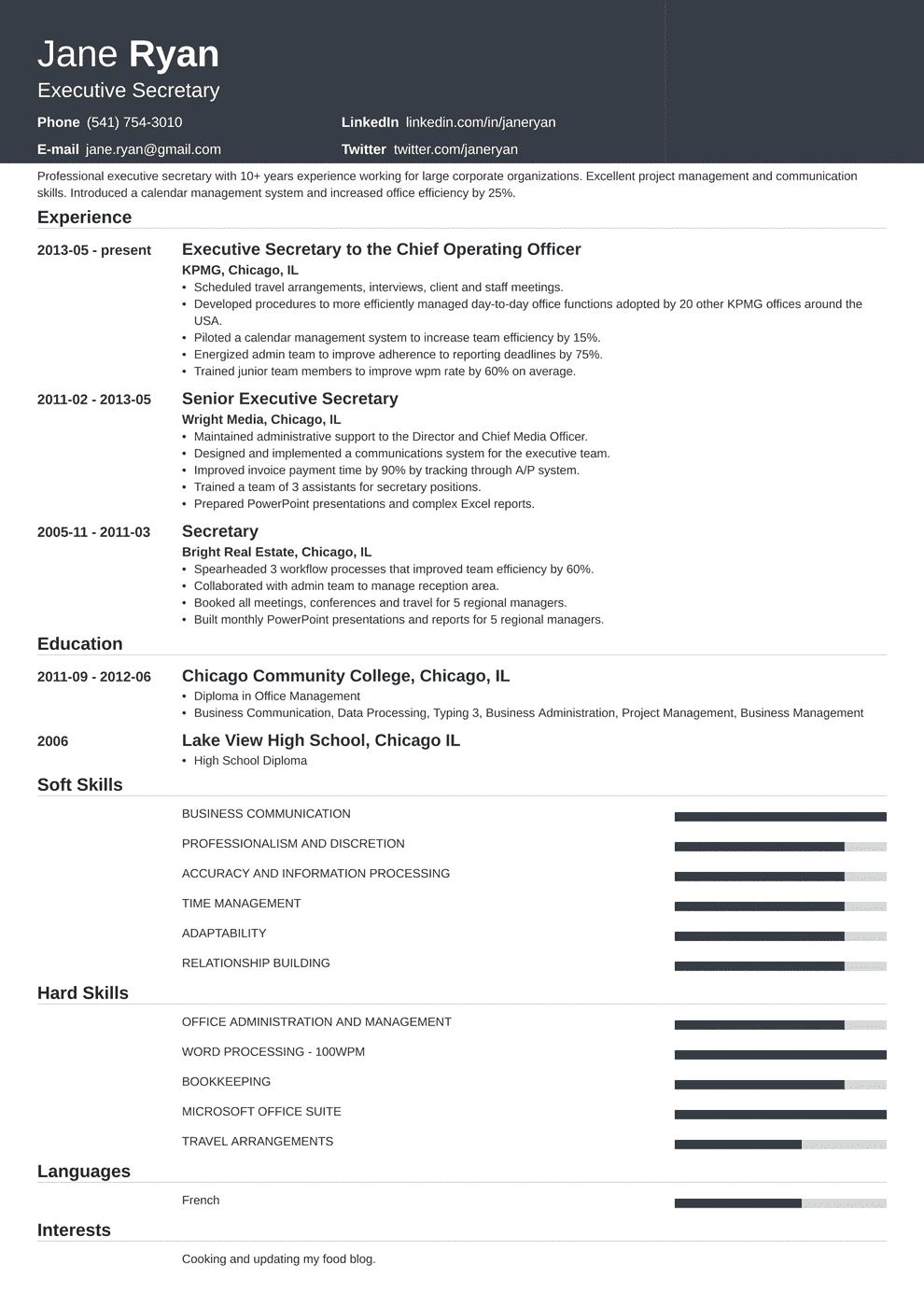 secretary resume template influx in 2020 Resume template