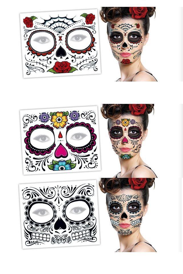 3 Day of the Dead Dia de los Muertos FACE TATTOOS kx Skull Halloween Costume