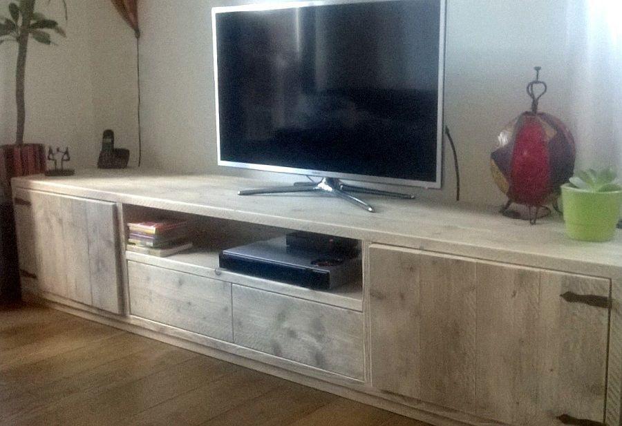 Steigerhouten tv meubel eigen ontwerp op maat gemaakt for Huiskamer opnieuw inrichten