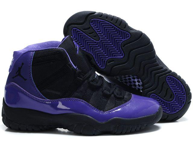 Air Jordan Retro 11 Women Shoes Black Purple in 2019  a0420f9e2