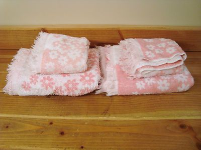 Vintage Set St Mary's Cotton Pink White Floral Flower Bath Hand Towels 4 PC | eBay