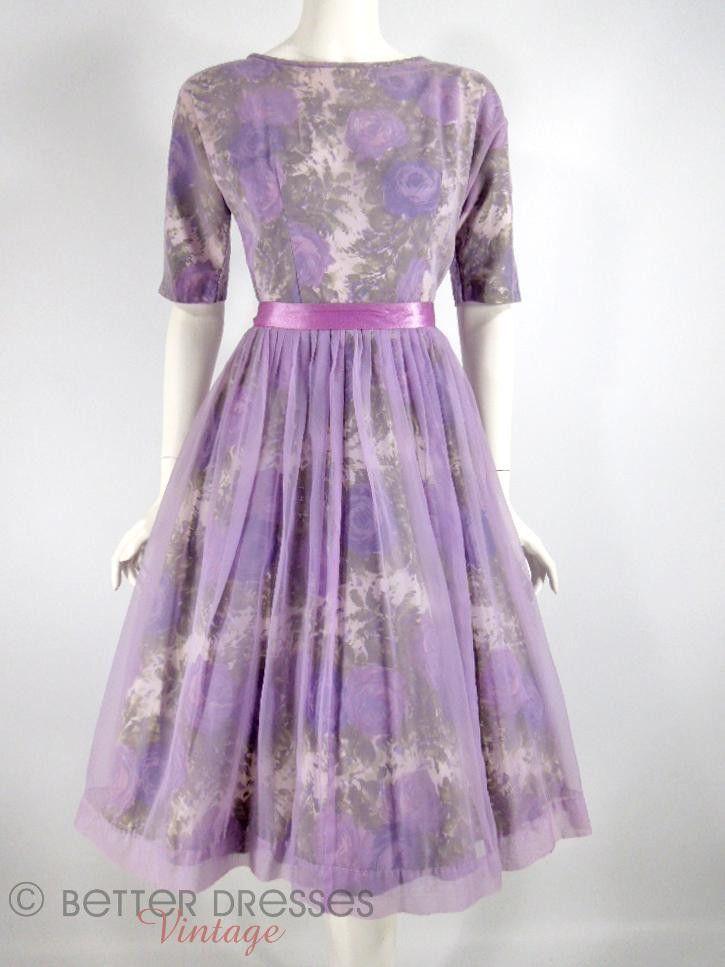 Vintage 1950s 1960s Party Dress Purple Floral Lavender Chiffon - sm ...