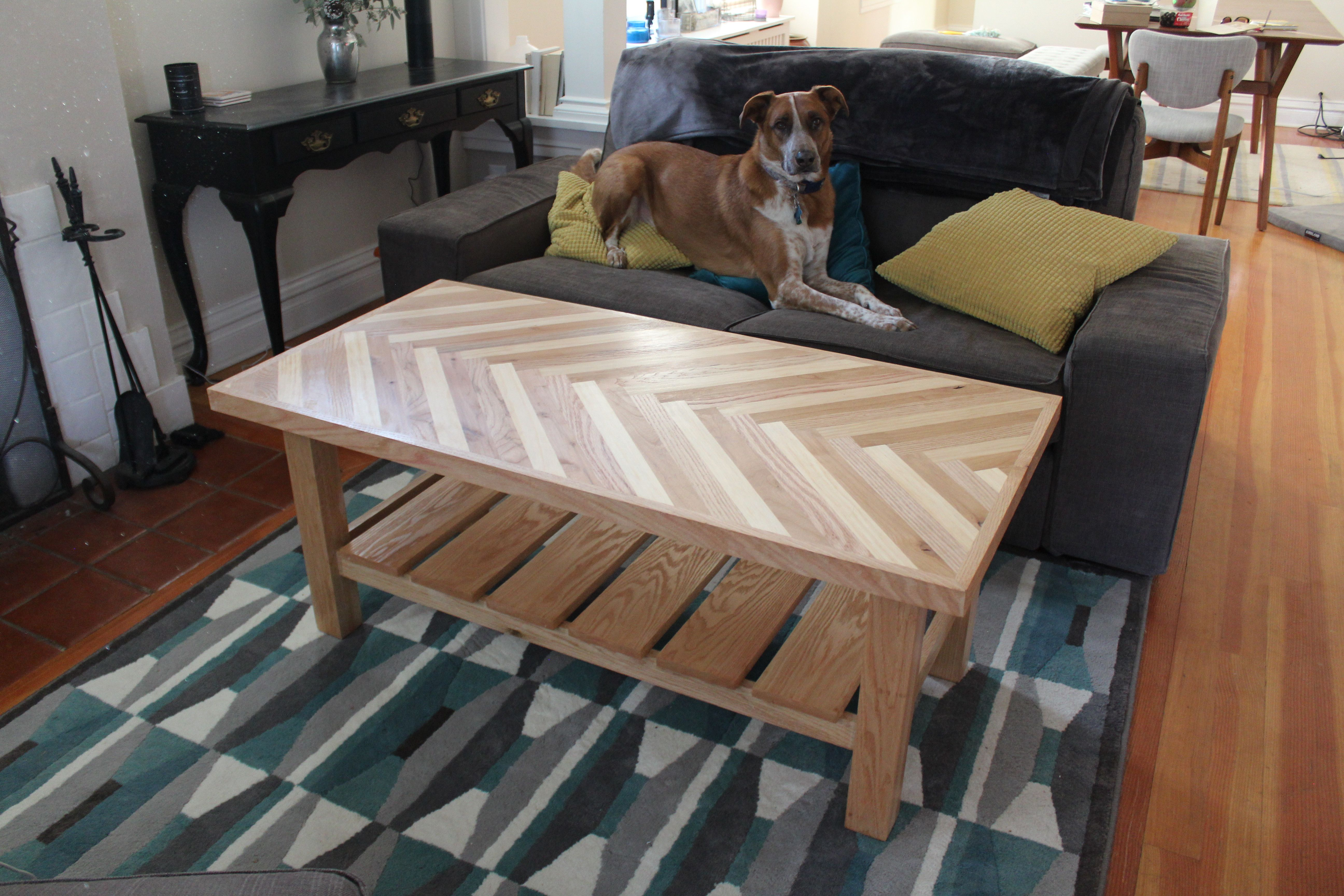 First Major Woodworking Project  Herringbone Coffee Table