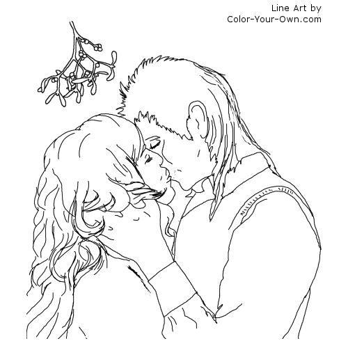 Christas Kiss Under The Mistletoe Line Art Christmas Coloring Pages Coloring Pages Cool Coloring Pages