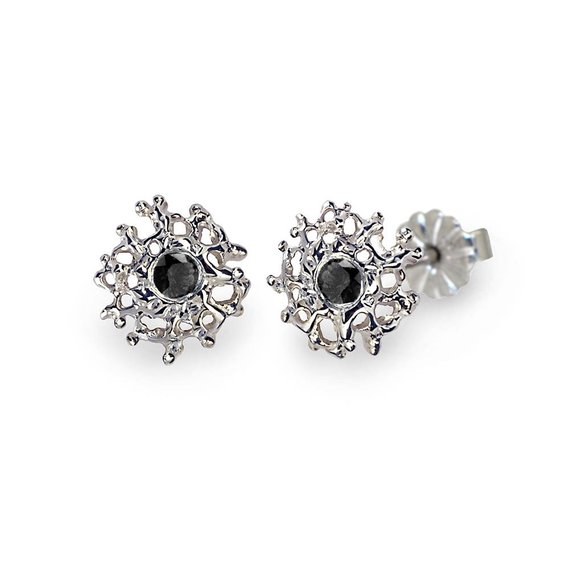 C Post Earrings Black Stone Gemstone