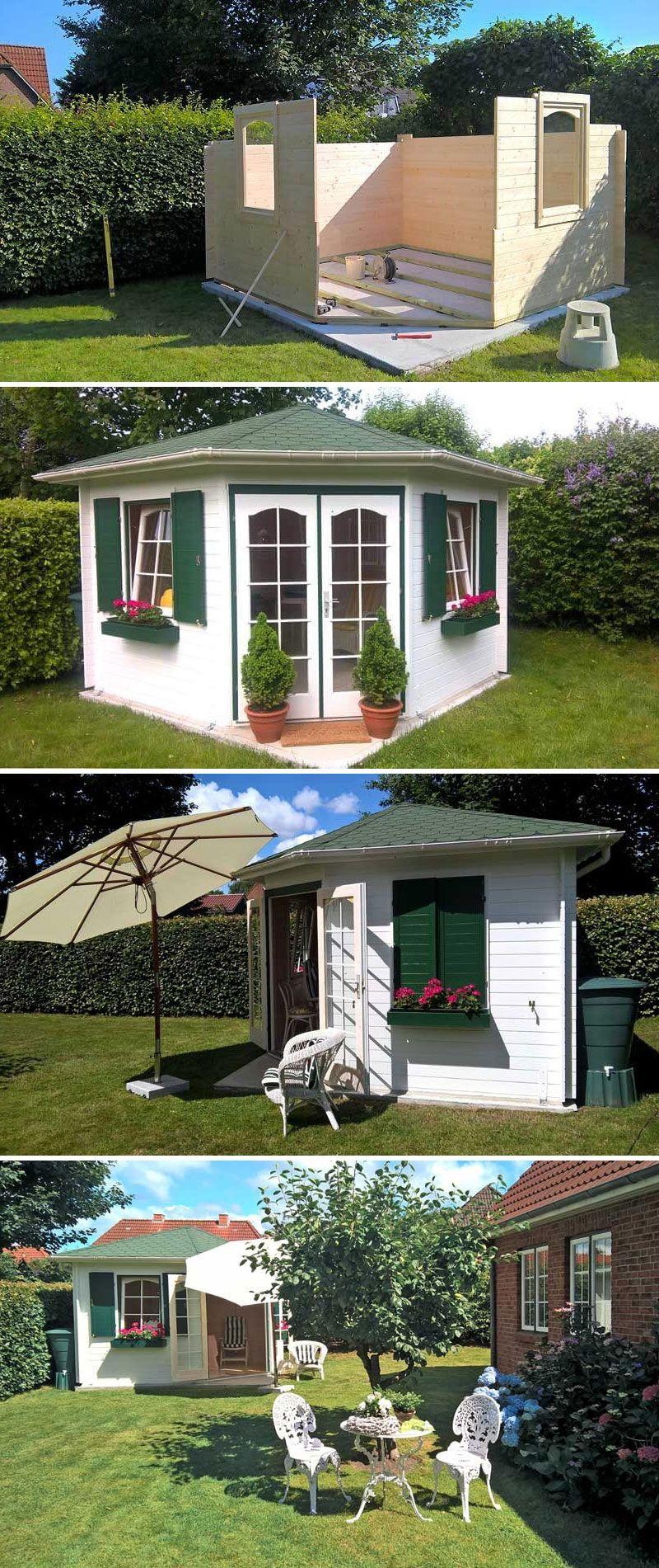 Aufbau Und Einblick Das 5 Eck Gartenhaus Alina 28 Backyard