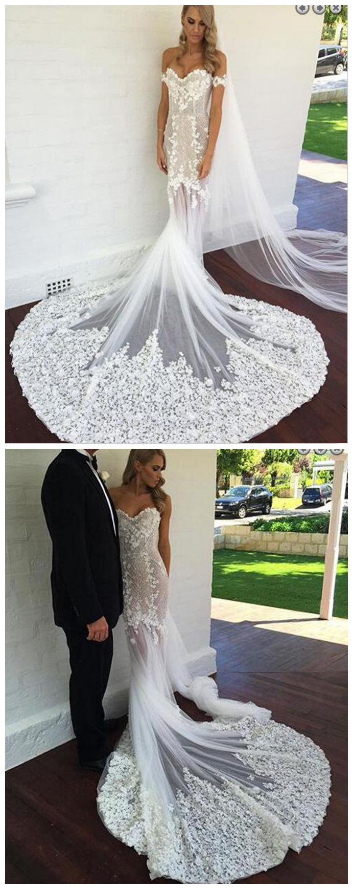 Add on sleeves for wedding dresses  Magnetic Off the Shoulder Short Sleeves Court Train Mermaid Wedding