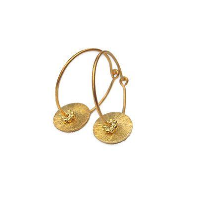 Øreringe - Forgyldt creol med mønter