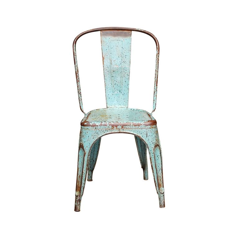Houzz French Industrial Decor | Blue Industrial Chair