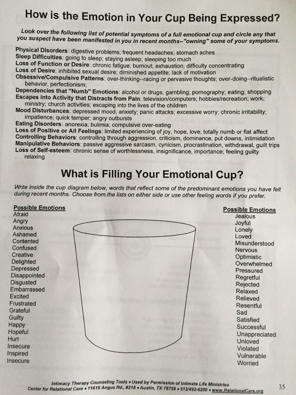 What is filling your emotional cup?   Therapeutic TX Community ...