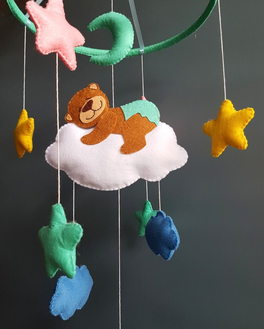 a8bcf3121b325 Baby crib mobile Bear sea green nursery decor felt handmade new baby ...