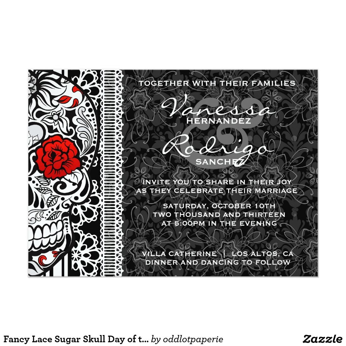Fancy Lace Sugar Skull Day Of The Dead Invite Sugar Skulls Lace