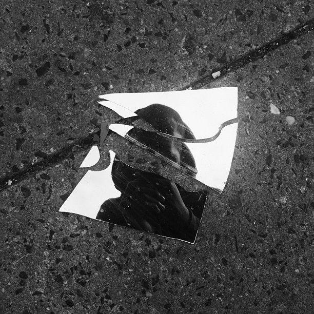 Black + White Broken Glass
