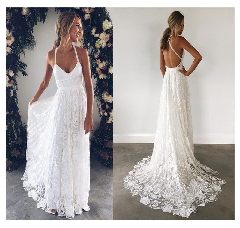Lorie Halter Lace Beach Wedding Dress 2019 Elegant A Line Backless Floor Length White I Lace Beach Wedding Dress Beach Wedding Dress Boho Wedding Dress Fabrics
