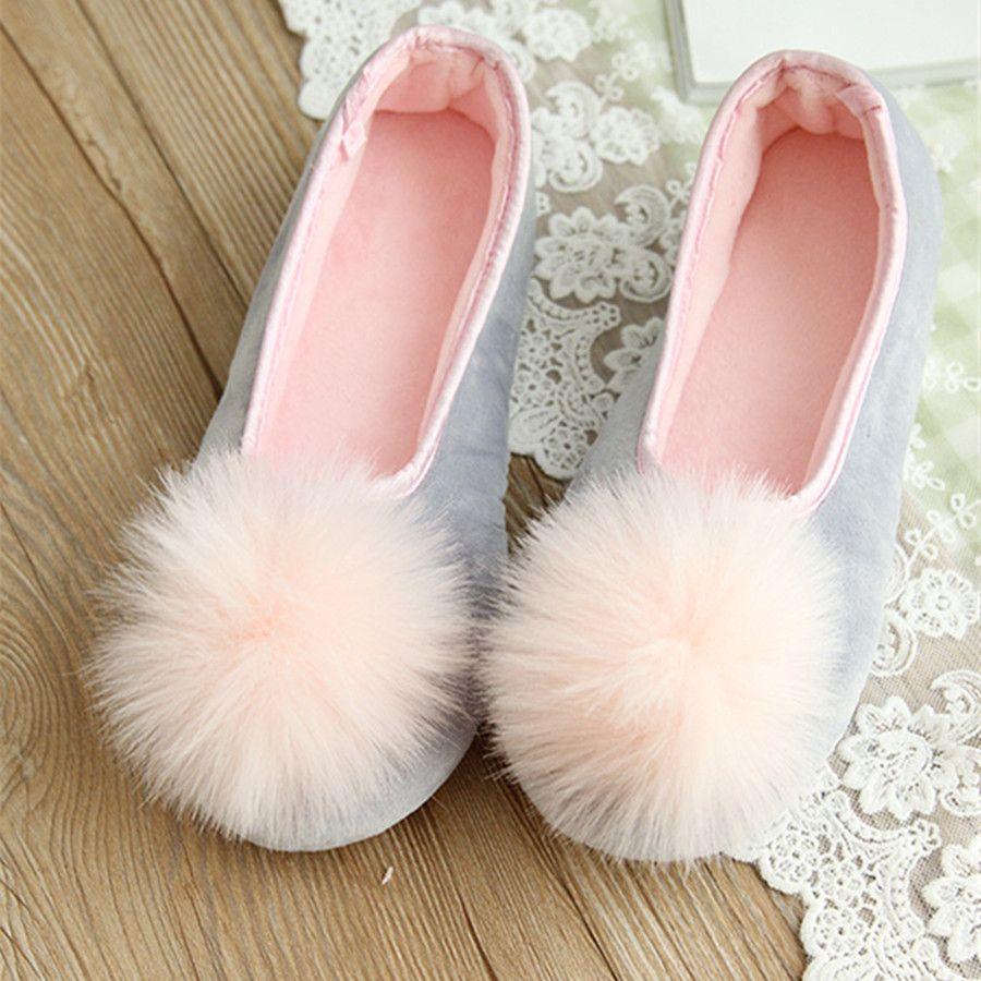Venta caliente de Las Mujeres Usan Zapatos de Interior Zapatillas de Casa de Mirada Dulce de Dos Colores de Otoño Primavera Ropa de Moda Estilo Cómodo Desgaste
