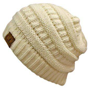 4b29989de Amazon.com: Winter White Ivory Thick Slouchy Knit Oversized Beanie ...