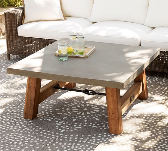 Square Marble Top Aviero Outdoor Occasional Coffee Table: Abbott Concrete Top Square Coffee Table