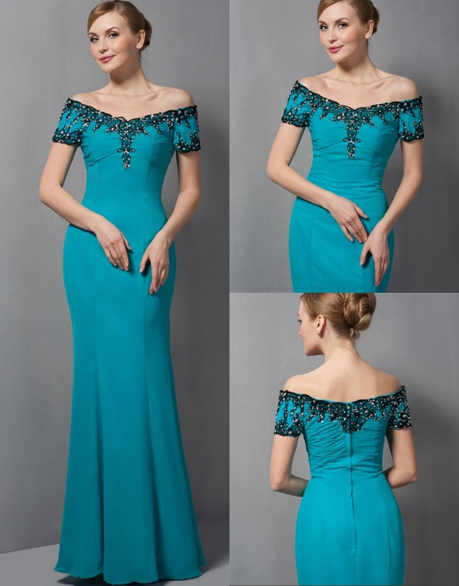 be65b893306 Teal Long Mermaid Floor Length Off Shoulder Chiffon Mother Of Bride Dresses  With Short Sleeves Mother S Elegant Evening Dresses Md5866 Pink Mother Of  The ...