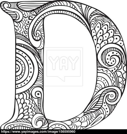 Illustrated Letter D Coloring Letters Coloring Pages Colouring Sheets For Adults