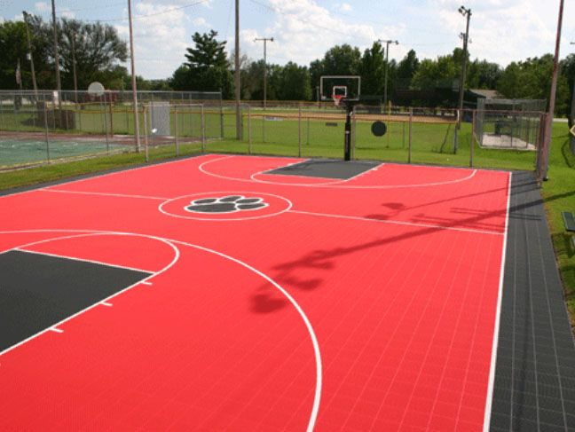 Red And Black Court with Paw emblem | Basketball Courts ...