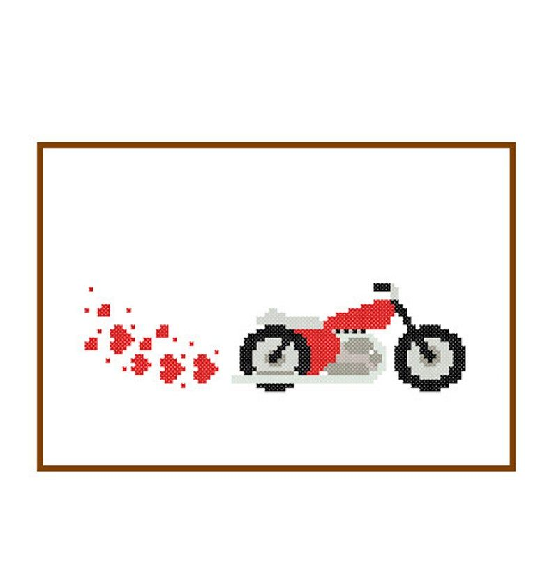 Instant Download Motorcycle Cross Stitch Pattern bike motorbike red black gray nursery boy art wall cushions gift transport