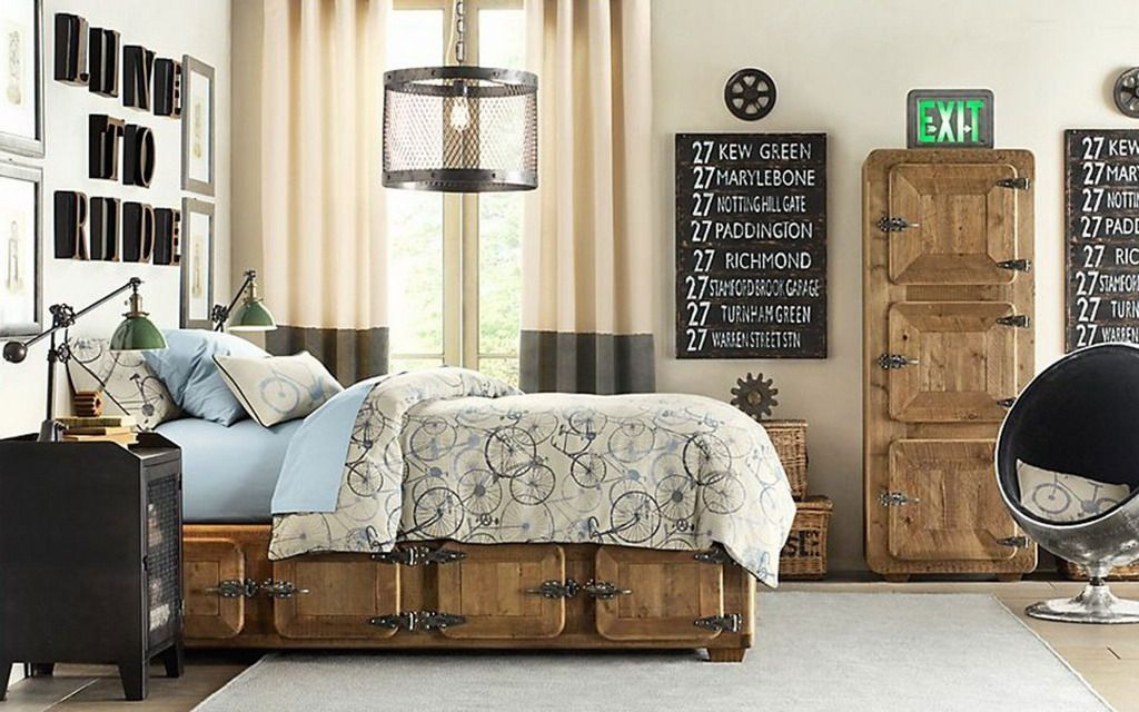 Amazing Classic Bed Storage and Door with Unique Round Lounge Chairs in Boys Bedroom Design Ideas