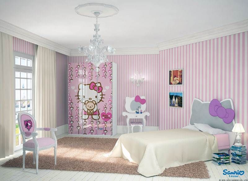 Girly bedroom and pink white striped wallpaper equipped - Pink and white striped wallpaper bedroom ...