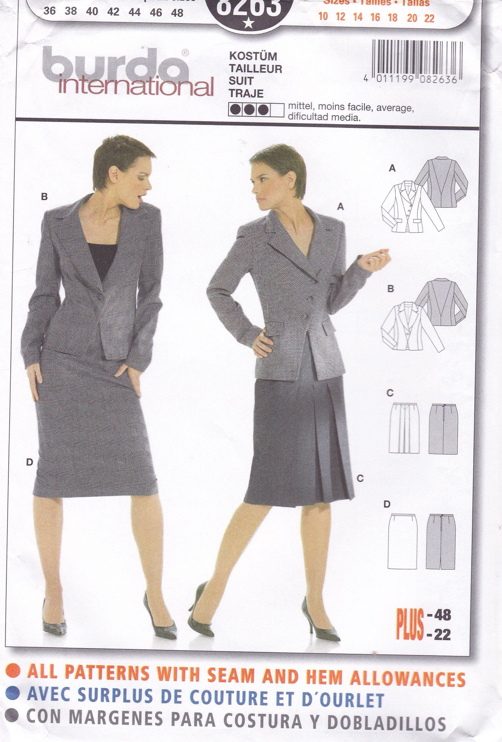 FREE US SHIP Burda 8263 Sewing Pattern Suit Jacket Skirt ...