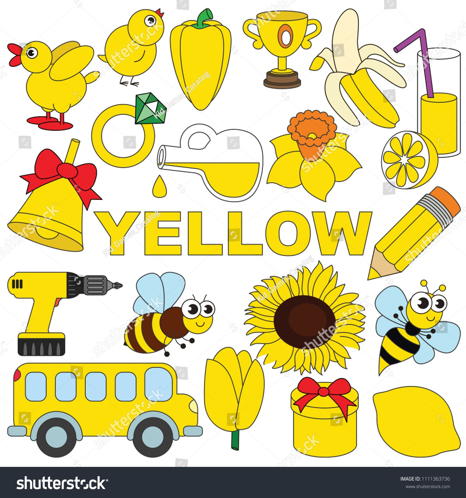 Yellow Objects Color Elements Set Collection Of Coloring Book Template The Group Of Outline Digi Preschool Color Activities Preschool Colors Color Activities
