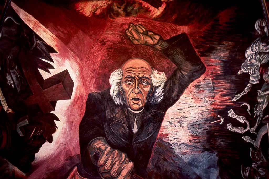 Mexico Guadalajara Miguel Hidalgo Mural Jose Clemente Orozco