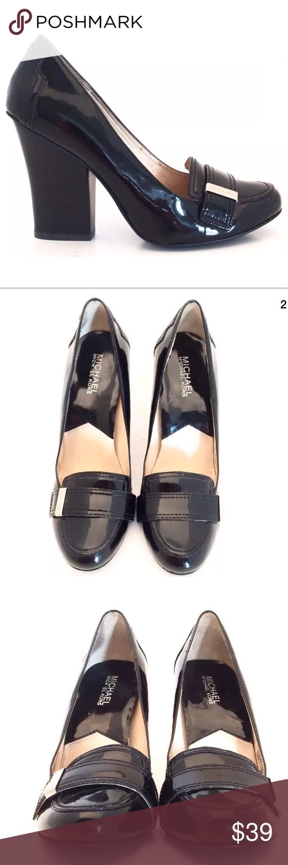 968debac07f Michael Kors Black Patent Chunky Heel Pumps Michael Kors Women s Black  Patent Leather Chunky Heel Pumps Size 7.5M 4