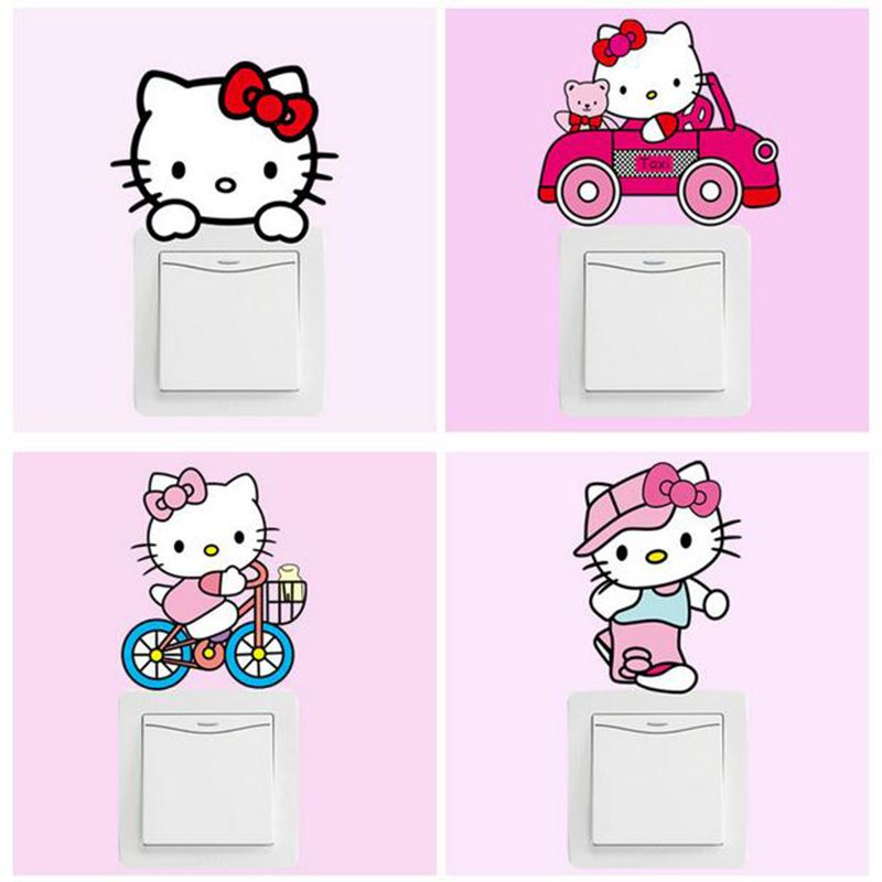 Diy Cute Hello Kitty Cartoon Switch Stickers Pvc Removable Wall Stickers Home Decoration Bedroom Wall Stickers Cartoon Wall Stickers Bedroom Wall Stickers Kids