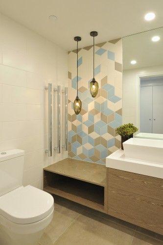 Southbank Bathroom Walls - Tex White, Brown, Blue Floors - Number