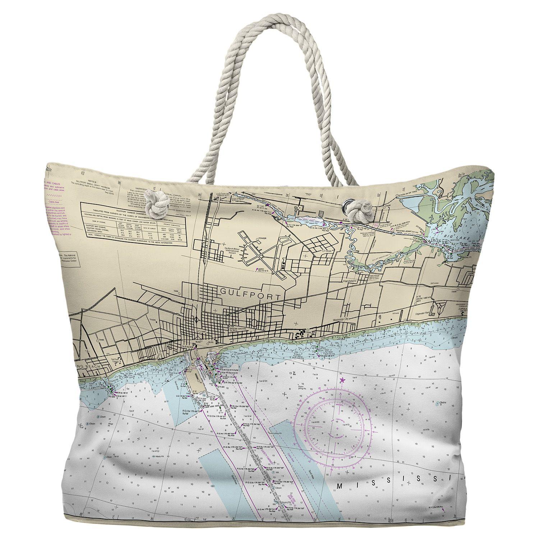 Ms Gulfport Ms Nautical Chart Tote Bag Map Tote Bag Nautical Tote Bags Tote Bag