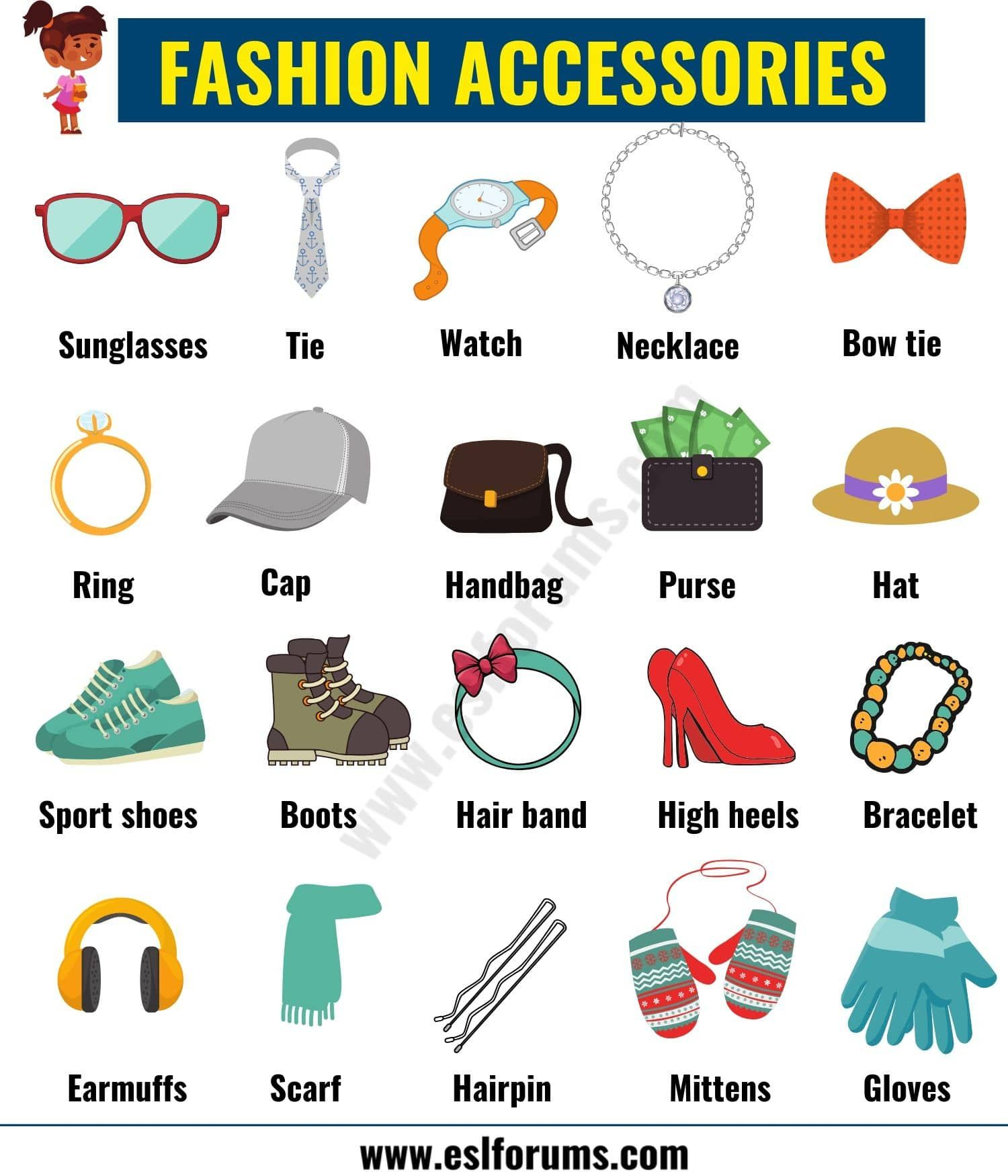 Fashion Accessories List Of Accessories For Men And Women In English Esl Forums English Clothes English Fashion Accessories