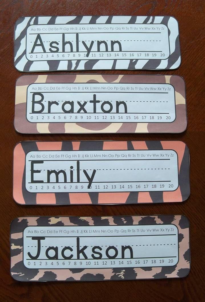Jungle Safari Themed Animal Print Name Plates Editable