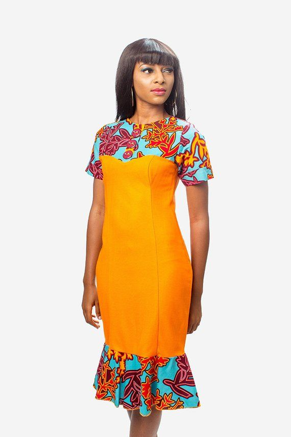 Jersey and Ankara Fitted Dress, African Print Dress, Ankara Dress, African Clothing for Women, African Dress, African Women Dress #africanprintdresses
