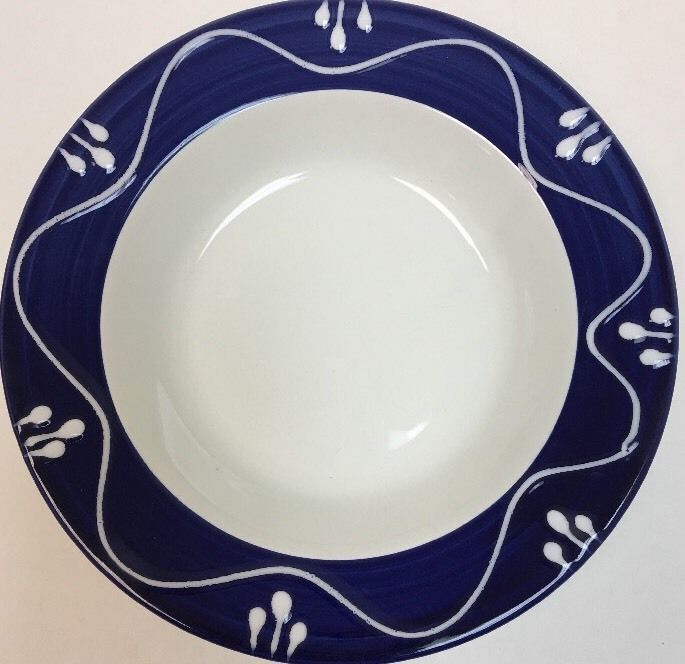 La Primula S.R.L.HandPainted Blue Border White Pattern Italy 5 Bowl/Pasta Plates  sc 1 st  Pinterest & Set of 4 La Primula S.R.L. Bowl/Pasta Plates Hand-Painted Italy ...